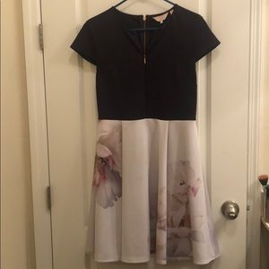 Ted Baker Navy + Floral Dress w/ zippers (sz 8/10)